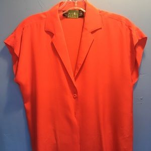 Carole Little Tops - 80s vintage red silk cropped blouse small